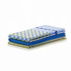 DecoKing Kuchynská utierka Louie žltá a modrá, 50 x 70 cm, sada 3 ks