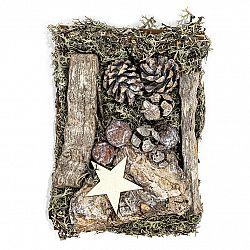 Dekoračné potpourri s machom, šiškami a drievkami 150 g, biela