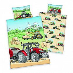 Herding Detské bavlnené obliečky do postieľky Traktor, 100 x 135 cm, 40 x 60 cm