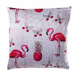 Jahu Obliečka na vankúšik Flamingo ananás, 40 x 40 cm