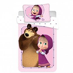 Jerry Fabrics Detské bavlnené obliečky do postieľky Máša a Medveď Srdce, 100 x 135 cm, 40 x 60 cm