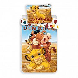 Jerry Fabrics Detské bavlnené obliečky Leví Kráľ Lion King, 140 x 200 cm, 70 x 90 cm