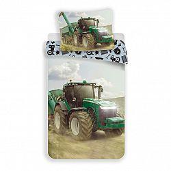 Jerry Fabrics Detské bavlnené obliečky Traktor green, 140 x 200 cm, 70 x 90 cm