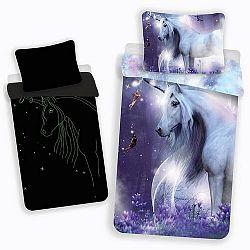 Jerry Fabrics Detské bavlnené svietiace obliečky Unicorn glow, 140 x 200 cm, 70 x 90 cm