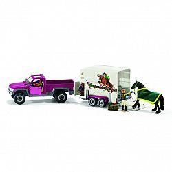 Schleich Pick-up s prívesom a koňom