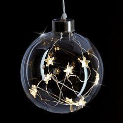 Solight LED vianočná gula sklenená, 10LED, 2x AA, IP20, 1V204