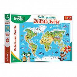 TREFL Puzzle Treflíci poznávají zvířátka světa 48 dílků