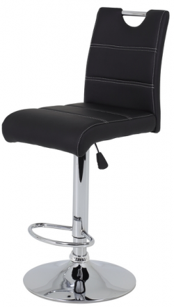 Barová stolička Miranda, čierna ekokoža