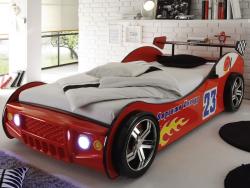 Detská posteľ Energy 90x200 cm, červená pretekárska postel s osvetlením