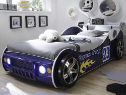 Detská posteľ Energy 90x200 cm, modrá pretekárska s osvetlením