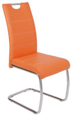 Jedálenská stolička Flora, oranžová ekokoža