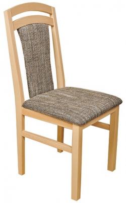 Jedálenská stolička Sylva, buk / čierno-béžová tkanina