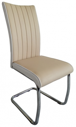 Jedálenská stolička Vertical, béžová/biela ekokoža