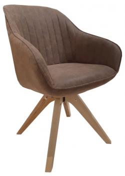 Jedálenská stolička Viborg, hnedá vintage ekokoža