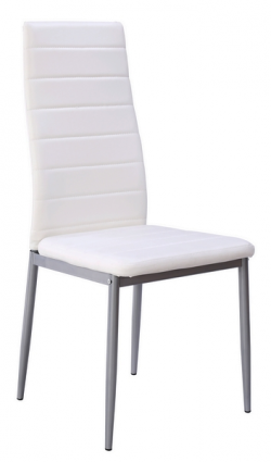 Jedálenská stolička Zita, biela ekokoža