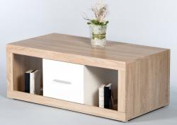 Konferenčný stolík Cancan, dub sonoma/lesklá biela