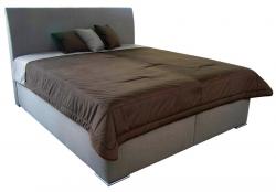 Posteľ Monte 160x200 cm, béžová tkanina / deka / vankúše