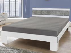Posteľ Rhone 140x200 cm, biela/šedý betón