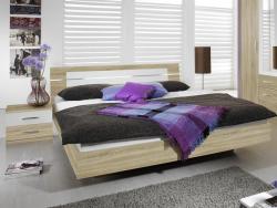 Posteľ s nočnými stolíkmi Burano 160x200 cm, dub sonoma/biela