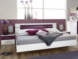 Posteľ s nočnými stolíkmi Burano 180x200 cm, biela/fialová