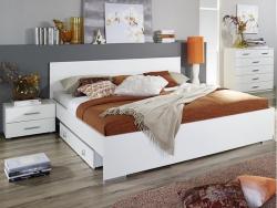 Posteľ s nočnými stolíkmi Lorca 160x200 cm, biela/leská biela