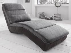 Relaxačné ležadlo Yankee, čierna ekokoža/šedá tkanina