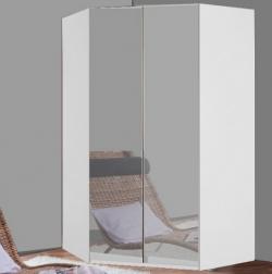 Rohová šatníková skriňa New York D, biela / zrkadlo / osvetlenie