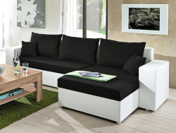 Rohová sedacia súprava Samba II, biela ekokoža/čierna látka
