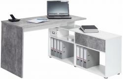 Rohový písací stôl Typ 4019, beton/bílý