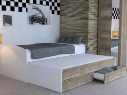 Rozkladacia posteľ Patrik Color 90x200 cm, biela/dub canyon