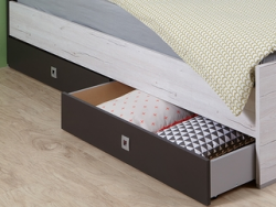 Sada úložných zásuviek pod posteľ Cariba, bielený dub/lávová, na kolieskach