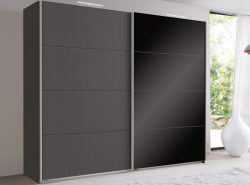Šatníková skriňa Easy Plus, 225 cm, grafit/čierne sklo