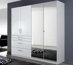 Šatníková skriňa Homburg, 181 cm, biela/lesklá biela