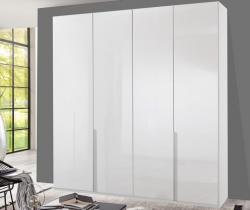 Šatníková skriňa New York D, 180 cm, biela / biely lesk