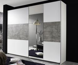 Šatníková skriňa Prenzlau, 218 cm, biela / sivý betón