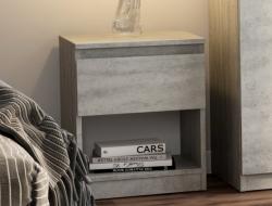 Skrinka /nočný stolík Carlos 401S, šedý beton