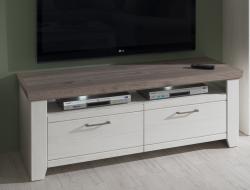 TV skrinka Cruz typ 31, bielená pinia/šedý dub