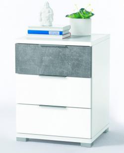 Vyšší nočný stolík Anton, biela/beton