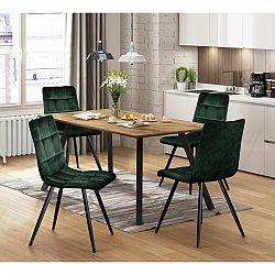Jedálenský stôl BERGEN dub + 4 stoličky BERGEN zelený zamat
