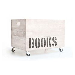 Biela drevená škatuľa na knihy Really Nice Things Books