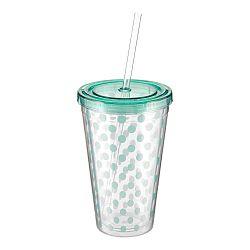 Bodkovaný pohárik s mentolovozeleným viečkom a slamkou Premier Housewares, 450 ml