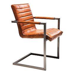 Hnedá kožená stolička s opierkami Kare Design Cantilever