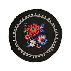 Obojstranný vankúš s ľanovou prímesou Madre Selva Colorful Flowers, ⌀ 45 cm