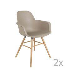 Sada 2 sivo-hnedých stoličiek s opierkami Zuiver Albert Kuip