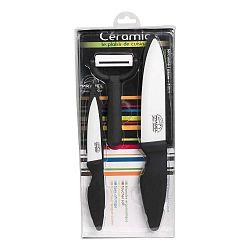Sada keramických nožov a škrabky Jean Dubost Ceramic Black