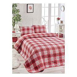 Set červenej bavlnenej prikrývky cez posteľ a 2 obliečok na vankúše Harro Mento, 200×220 cm