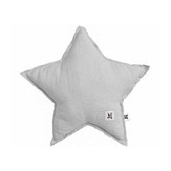 Sivý detský ľanový vankúš v tvare hviezdy BELLAMY Stone Gray