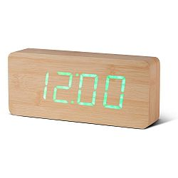Svetlohnedý budík so zeleným LED displejom Gingko Slab Click Clock