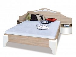Manželská posteľ DOME DL2-4 sonoma + biely lesk