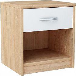 MARK 026 nočný stolík so zásuvkou, dub sonoma/biela